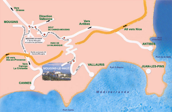 Cannes Mougins Flat To Rent Location Map